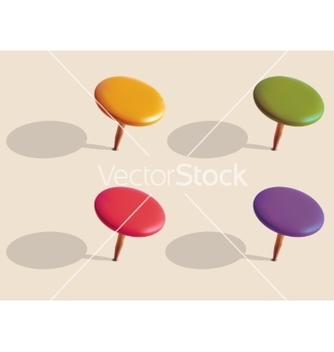 Free set of color pins vector - vector gratuit #237049