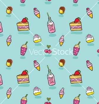 Free cute seamless pattern with ice cream soda cake vector - vector gratuit #237529