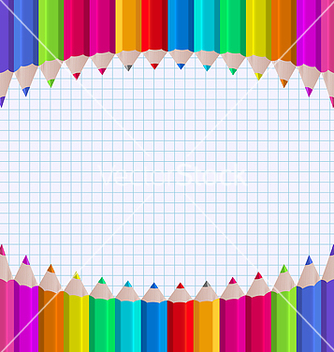 Free rainbow of pencils on paper sheet background vector - Free vector #237539