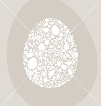 Free easter egg card of white objects on beige vector - vector gratuit #238099