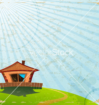 Free vintage card with the image of a village house vector - vector gratuit #238149