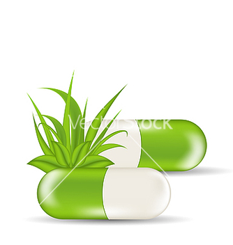 Free natural medical pills with green leaves and grass vector - Free vector #238319
