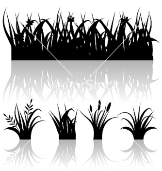 Free set silhouette of grass with reflection isolated vector - Free vector #238379