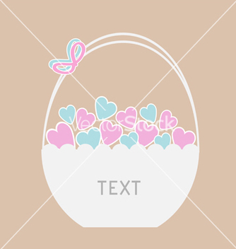 Free basket full of blue and pink hearts card vector - Free vector #238399