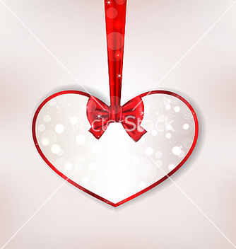Free card heart shaped with silk bow for valentine day vector - vector gratuit #238689