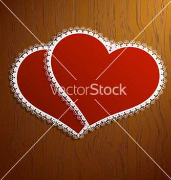 Free two lacy red hearts on a wooden background vector - бесплатный vector #238779
