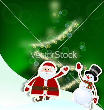Free christmas card with santa claus tree and snowman vector - Free vector #238869