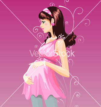 Free pregnant woman in purple pregnant dress vector - Free vector #239699