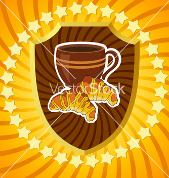 Free shield with coffee and croissants vector - vector gratuit #239749
