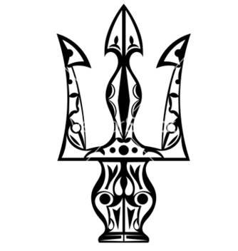 Free black and white tattoo trident vector - Free vector #239759