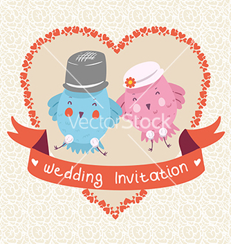 Free invitation or wedding card with two bird vector - Kostenloses vector #239819
