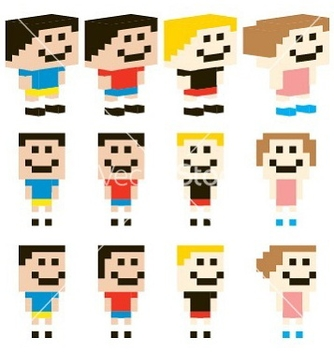 Free pixel art kids character design vector - бесплатный vector #239999