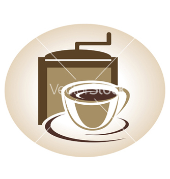 Free coffee mill and cup emblem vector - Kostenloses vector #242399