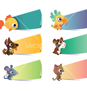 Free collection of cartoon pets with banners on vector - vector gratuit #242409