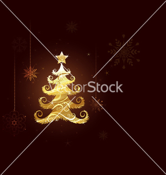 Free christmas tree of gold foil vector - Kostenloses vector #242549