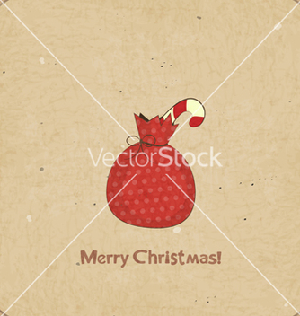 Free christmas retro postcard with gift bag vector - Free vector #242709