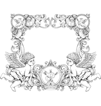 Free victorian frame with angels vector - vector gratuit #243159