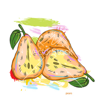 Free pears with colorful splashes vector - vector gratuit #243189