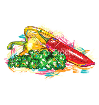 Free vegetables with colorful splashes vector - Kostenloses vector #243209