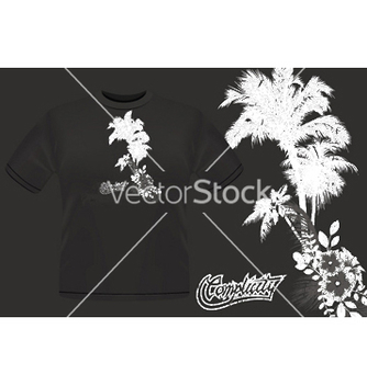 Free summer tshirt design with palm trees vector - Free vector #245239