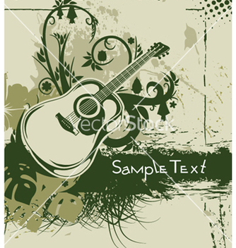 Free guitar with floral vector - vector #245599 gratis