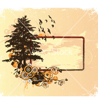 Free vintage floral frame with tree vector - бесплатный vector #246409