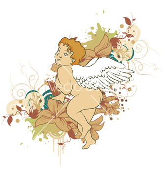 Free angel with floral vector - Kostenloses vector #246519