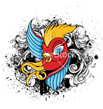 Free bird with grunge vector - Kostenloses vector #247009