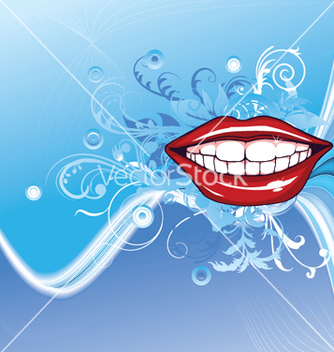 Free lips with floral vector - vector gratuit #247119