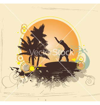 Free summer with surfer vector - Free vector #247479