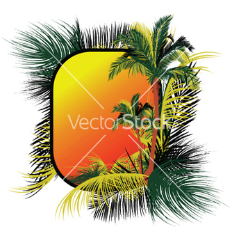 Free summer frame with palm trees vector - Free vector #248589