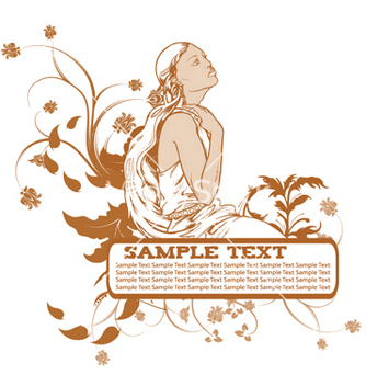 Free girl with floral vector - Kostenloses vector #248909