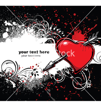 Free heart with grunge and floral vector - Free vector #249339