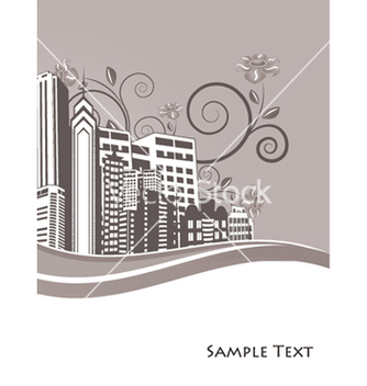 Free vintage city background with floral vector - Kostenloses vector #249769