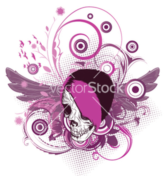 Free skull with floral vector - Kostenloses vector #249959