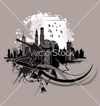 Free vintage city background with surfer vector - Kostenloses vector #249989