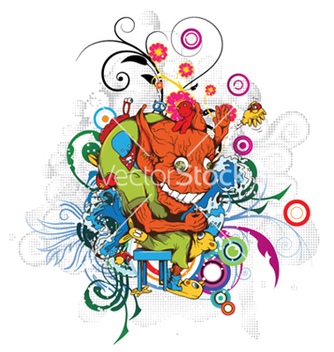 Free funny monsters with floral vector - Kostenloses vector #250669