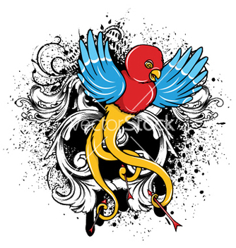 Free bird with grunge vector - Kostenloses vector #250699