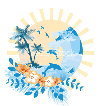 Free summer with hibiscus vector - Free vector #250839