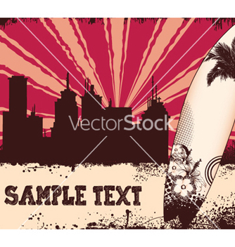 Free summer background with city and surfboard vector - Free vector #251289