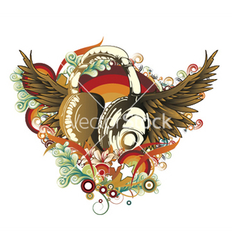 Free headphones with wings vector - Kostenloses vector #251689