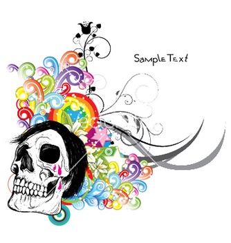 Free skull with floral vector - Free vector #252339