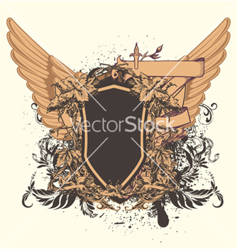 Free vintage emblem with shield vector - Kostenloses vector #252349
