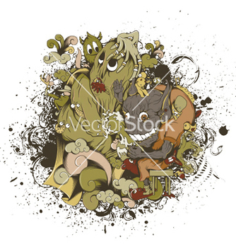 Free funny monsters with grunge vector - vector gratuit #253179