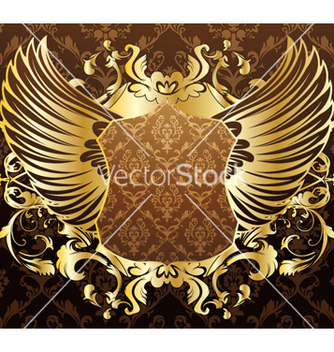 Free gold shield with wings vector - Kostenloses vector #253309