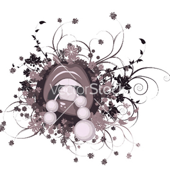 Free mouth with floral vector - vector #253569 gratis