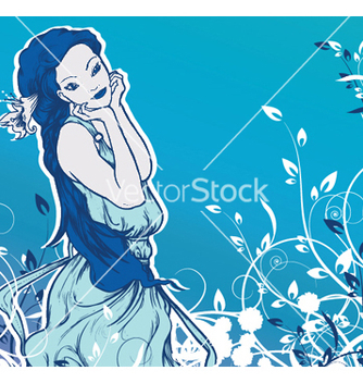 Free girl with floral vector - Kostenloses vector #253649