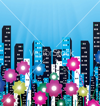 Free city with flowers vector - Kostenloses vector #253899