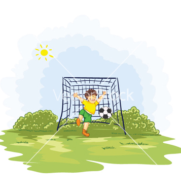 Free kid playing soccer vector - Free vector #254179