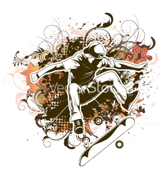 Free skater with grunge and floral vector - Free vector #254969